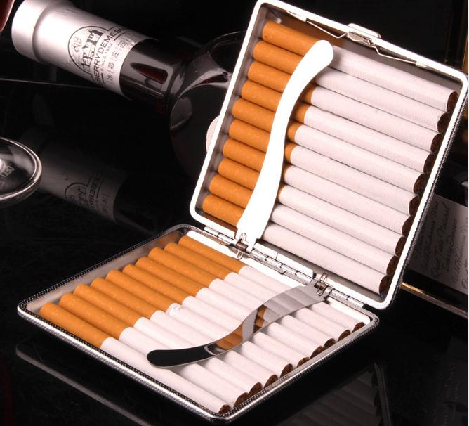 Hot Faux Leather Metal Frame Black Cigarette Storage Case Box Container for Lighter