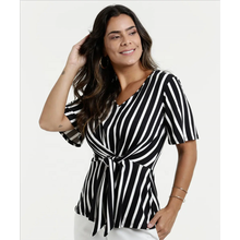 Women's Stripes Long Sleeves V-neck Shirt Blouse