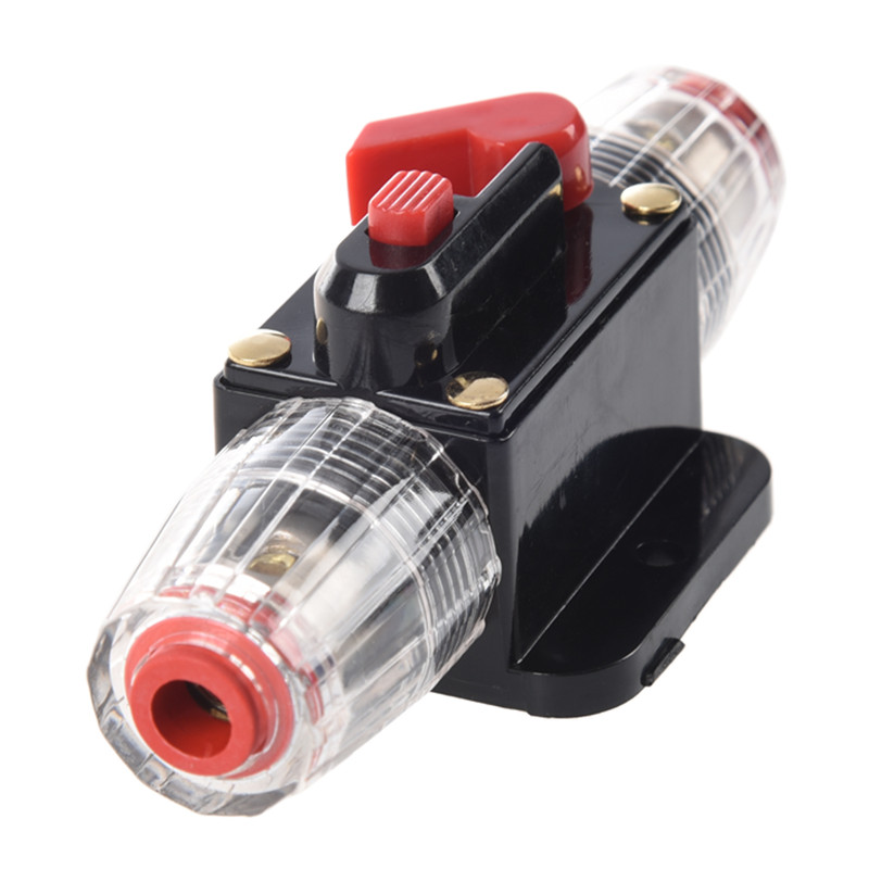 50A Car o Inline Circuit Breaker Fuse Holder 12v-24v System Protection Black