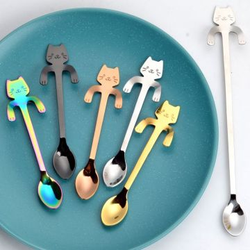 Stainless creative cartoon cat  shaped coffee spoon