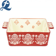Hot Sale High Quality Rectangular Kitchen Fancy Printed Ceramic Bakeware With Binaural