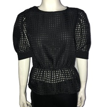 Puff Sleeve Sexy Mesh Transparent Patchwork Women Blouse