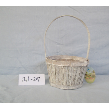 Round Wood Bark Basket