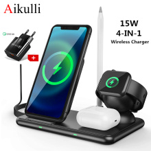 Wireless Charger Station 15W Fast Wireless Charging Stand 4 in 1 for iPhone 12 11 Pro XR XS X Apple Watch 6 5 4 3 Airpods Pencil