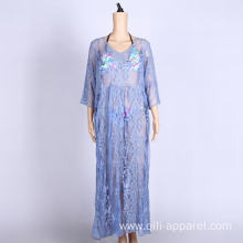 long sleeve beachwear cover up summer beach dress