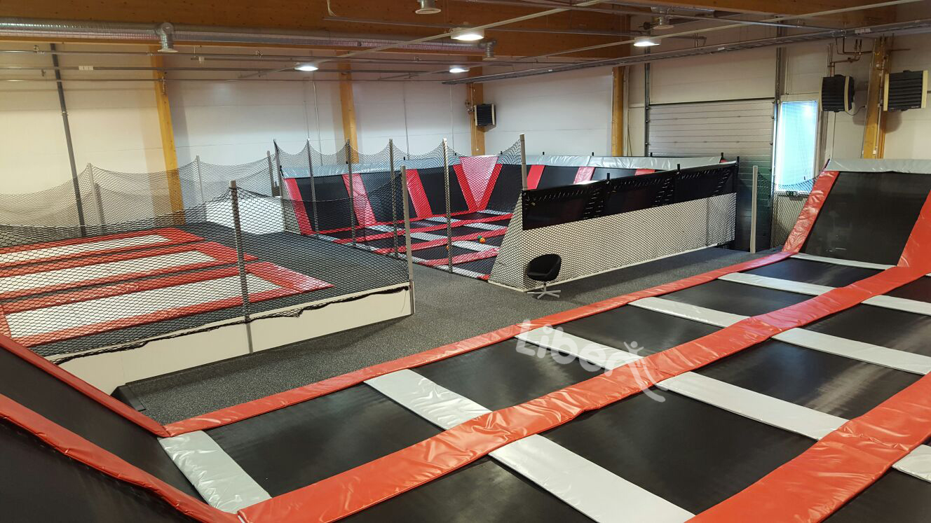 dodgeball area of elastic indoor trampoline park