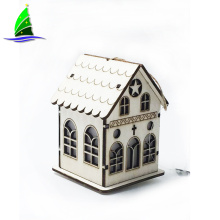 LED Light Wooden House Christmas Tree Hanging Ornaments