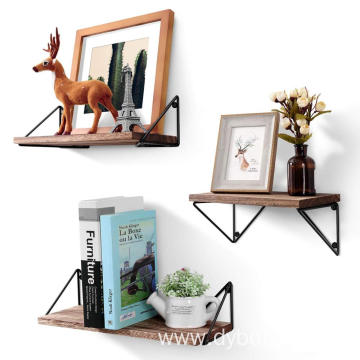 Floating Mounted Set of 3 Rustic Wood Wall Shelves for Living Room