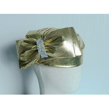 Women's Metallic Fabric Covered Church Hats