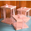 Transparent Pink Cake Packing Box With PET Window