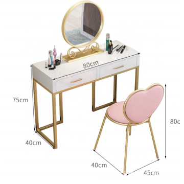 Iron pretty dressing table with mirror and stool