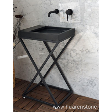 Shanxi black granite pedestal sink