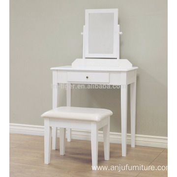 French Vintage Ivory White 3 mirrors Vanity Dressing Table Set Makeup Desk with Stool