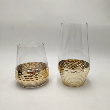 gold engraved high ball glasses stemless wine cup