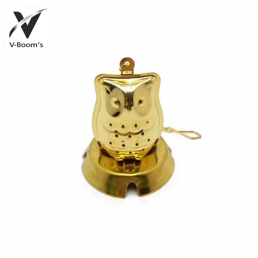 Copper Stainless Steel Owl Shaped Tea Strainer