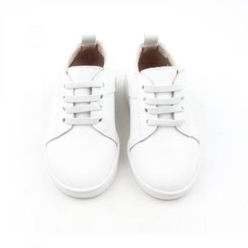 White Leather Classic Style Children Casual Shoes