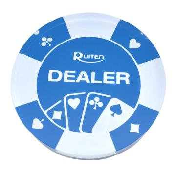 Suited Acrylic Casino Dealer Button Blue