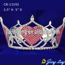 Rhinestone Heart Shape Full Round Princess Pageant Crown