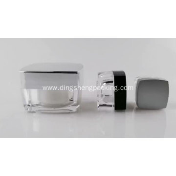 Square Clear Acrylic Cream Jar For Cosmetic Packaging