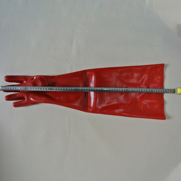 Red gloves dipped in rubber flannelette 60cm
