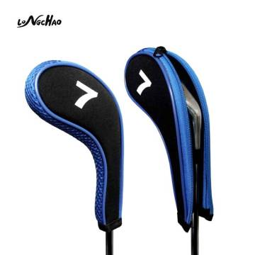 Amazon Hot selling Rubber Material Zipper Headcovers Golf Iron Headcovers For Protect Golf Iron Club
