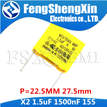 5pcs 1500nf capacitor X2 capacitor 275VAC Pitch 275V 22.5mm 27.5mm X2 Polypropylene film 155 155K 1.5UF Safety capacitors