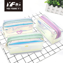 Custom lovely laser TPU leather cosmetic bag