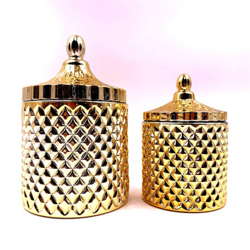 gold glass jars with lid