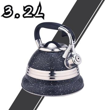 Black with Stainless Steel Design Whistling Teapot