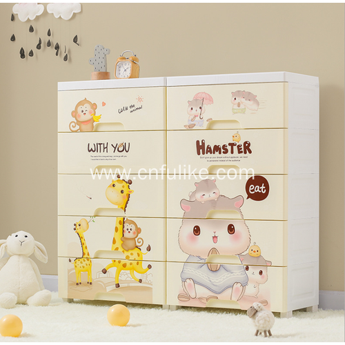 Cartoon Plastic Drawer Cabinet for Storage