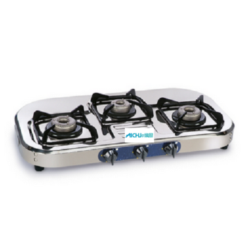 3 Burners Gas Cooker SS Natural Polish