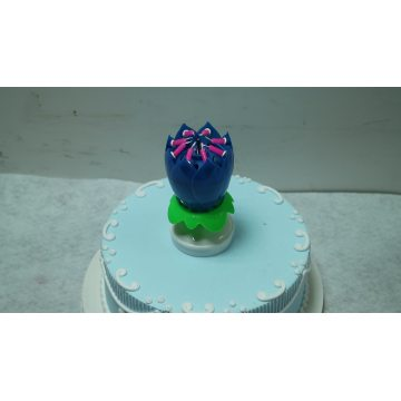 Customized Rainbow 14 Little Lotus Birthday Music Flower Candle