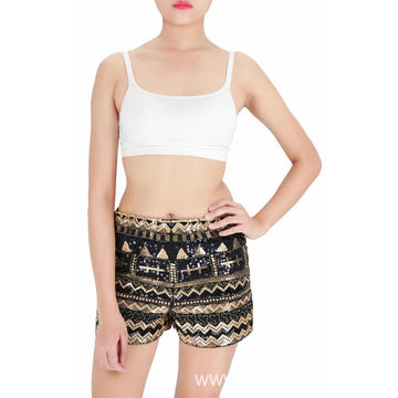 beads embroidered sequin party shorts