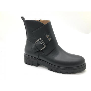 Ladies Ankle Zipper & Buckle Low Heel Boots