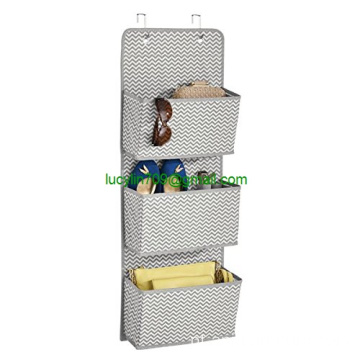Over-the-Door Fabric Closet Storage Organizer for Purses, Handbags, Shoes, Sunglasses - 3 Pockets, Gray/Cream