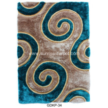 Polyester Soft & Silk Shaggy Carpet with 3D Pattern