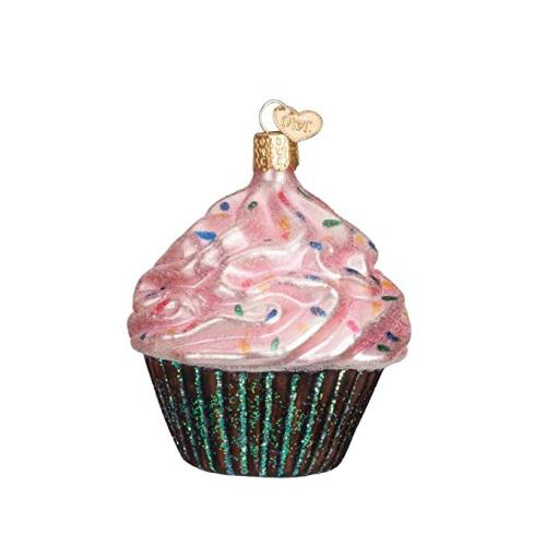 Cupcake Shaped Blown Customized Painted Glass Christmas Ornaments
