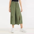 Green Casual Long Wide Leg Chiffon Long Pants