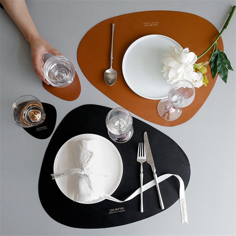 Leather Table Mat Stand for Mugs Round Coasters Table Placemats Cup Coaster Pads Mats Heat-resistant Placemats for Kitchen
