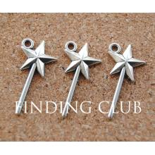 50 pcs Silver Color Magic Wand Charms Pendants Craft DIY Retro Jewelry Braclet 13x26mm A911