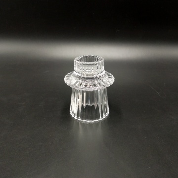 hot selling glass ribbed candle holder