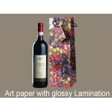 Colored Wine Handle Art Paper Bag