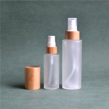 Frosted Glass Pump Bottles With Bamboo Cosmetic Lid