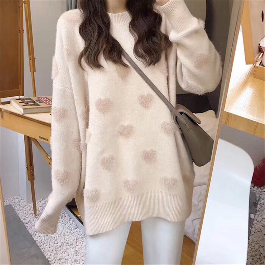 Autumn and winter new loose wild sweet peach heart mink wool sweater women's small fresh pullover sweater