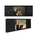 wooden flower shelf with blackboard