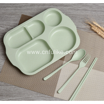 4-Pieces Wheat Straw Plastic Dinnerware Set