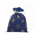 Laminated Non-woven Gold Snowflake Blue Gift Bags
