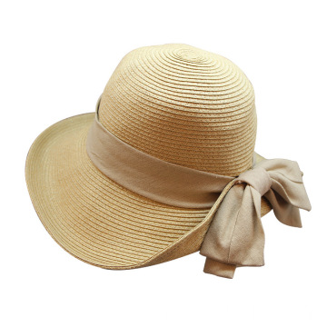 Premium raffia straw hat fedora with large bowknot