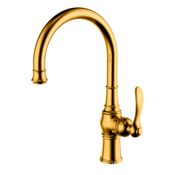 Copper single hole single handle kitchen faucet gold