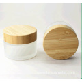 30g Environmental empty bamboo cosmetic lid frosted glass jars/cosmetic lotion bottles/cosmetic bottles and jars